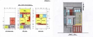 Denah desain rumah minimalis type 90 Tampak Depan