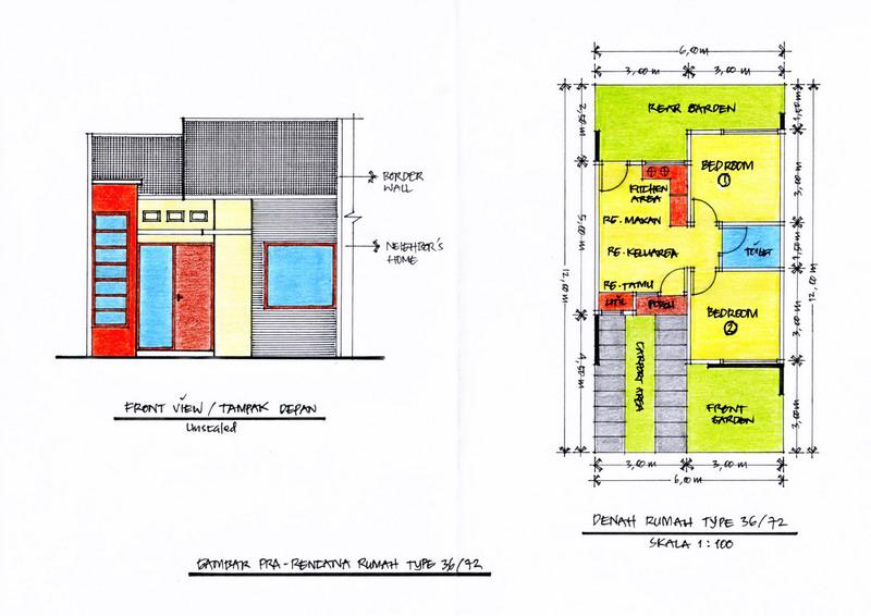 ... desain rumah mungil diatas lahan dengan lebar 6 m dan panjang 12 m